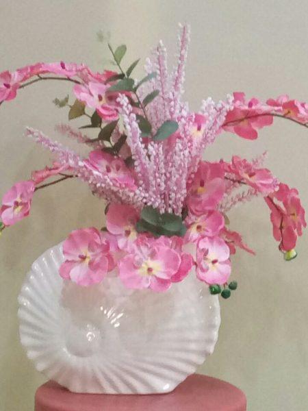 seramik vazo içimde pembe orkide aranjmanı