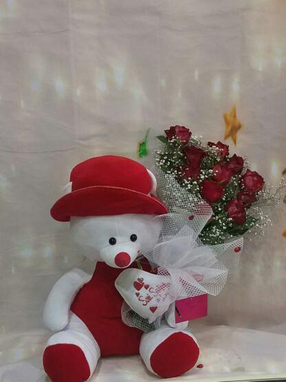 ısparta büyük boy ayıcık ve 10 gül çiçek siparişi